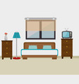 bedroom hotel escene icon vector image