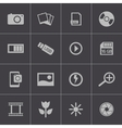 black photo icons set vector image vector image