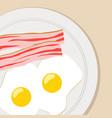 breakfast flat eggs bacon vector image
