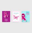 breast cancer awareness pink ribbon poster set vector image vector image