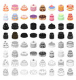 cakes set icons in cartoon style big collection vector image vector image