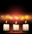 candles in glasses vector image vector image