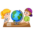 Children looking at globe on the table vector image vector image