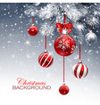 christmas card with red balls and snow vector image vector image