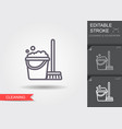 cleaning bucket with mop line icon with editable vector image