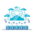 cloud computing network with servers towers vector image