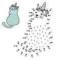 connect the dots and draw a funny unicorn cat vector image vector image