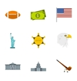 Country USA icons set flat style vector image vector image