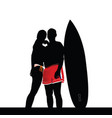 couple front of surfboard vector image