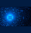 cpu chip and circuit board blue microprocessor vector image vector image