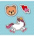 cute fantasy unicorn bear love heart sticker vector image