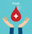 Donate blood bag on blue background vector image vector image