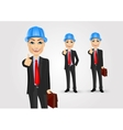 engineer with briefcase giving thumbs up vector image