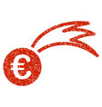 euro falling meteor icon grunge watermark vector image