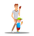 father and son enjoy eating ice cream vector image vector image