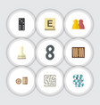 flat icon play set of people dice labyrinth and vector image vector image