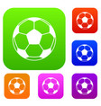 football or soccer ball set color collection vector image