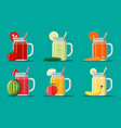 fresh vegetable and fruit juice set vector image
