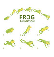 frog jumping animation various keyframes for vector image