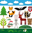 Funny set of cute wild animals forest and clouds vector image vector image
