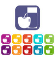 glass of drink and apple icons set flat vector image