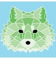 Green low poly lined fox vector image vector image
