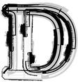 Grunge font letter D vector image vector image
