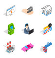 industrial company icons set isometric style vector image vector image