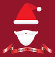 merry christmas - santa claus hat mustache beard vector image