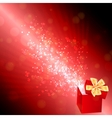 Opened gift box with flying hearts Valentines card vector image vector image