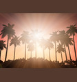 palm tree landscape against a sunset sky vector image vector image