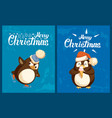 penguin on skates and with ice cream greeting card vector image vector image