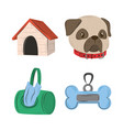 pets icon set house bone collar dog and bags flat vector image vector image