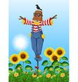 Scarecrow standing in sunflower field vector image