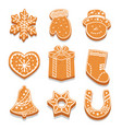 set decorated gingerbread cookies different vector image vector image