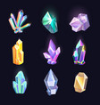 set isolated diamonds crystal quartz icons vector image