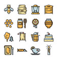 set of thin line bee and honey icons vector image