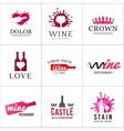 Set of wine bottle glass logo Original winery vector image