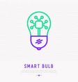 smart bulb thin line icon vector image