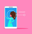 smartphone application woman face identification vector image vector image