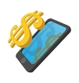 Smartphone with dollar on a display cartoon icon vector image vector image