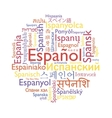 Spanish language word collage vector image vector image