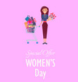 special offer for womens day promotion placard vector image