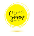 summer hand lettering text on yellow sun icon vector image