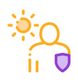sun protected man icon outline vector image