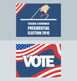 Usa 2016 election card with man hand with ballot D vector image vector image