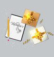 valentine day card with gift boxes vector image vector image