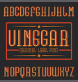 vintage label font named vinegar vector image vector image