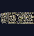 vintage tattoo monochrome posters set vector image vector image