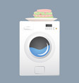 washing machine with basket flat style vector image